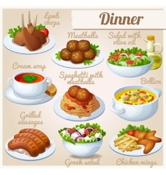 set food icons dinner vector image