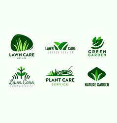 Set logo garden and lawn care service vector