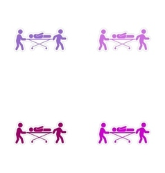 Set of stickers patients are on stretchers white vector