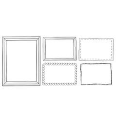 set vintage ornamental frames hand drawn doodle vector image