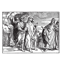 shadrach meshach and abednego are led out the vector image
