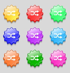 Shuffle icon sign symbol on nine wavy colourful vector