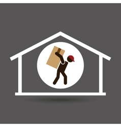 Silhouette worker carrying box storage vector