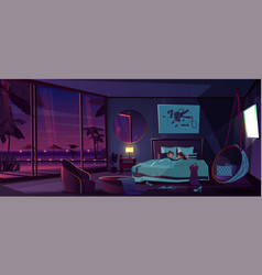 sleep in luxury resort hotel room cartoon vector image