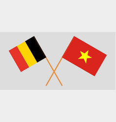 Socialist republic of vietnam and belgium flags vector