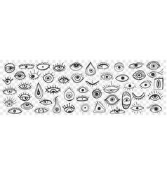 Spiritual occult eye doodle set vector