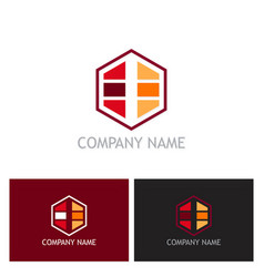 Storage data polygon logo vector