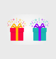 Surprise gift box with confetti in two colours vector