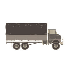 truck military vintage flat vehicle icon isolated vector image