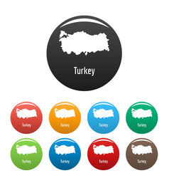 turkey map in black set simple vector image