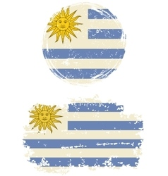 Uruguayan round and square grunge flags vector