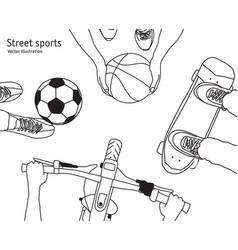 various street sports skateboarding basketball vector image