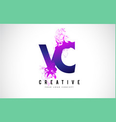 Vc v c purple letter logo design with liquid vector