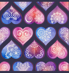 Watercolor seamless patern with heart and mandala vector