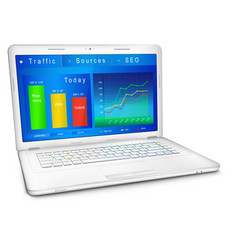Website traffic analysis on laptop screen vector