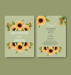 Wedding invitation watercolour design with vector