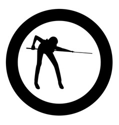 woman playing billiards icon black color in circle vector image