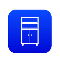wooden cabinet icon digital blue vector image
