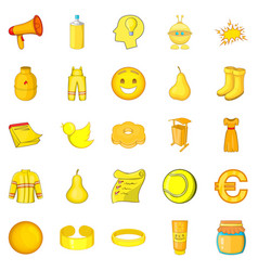Yellow icons set cartoon style vector