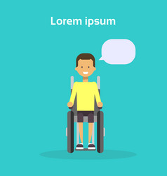 young man on wheel chair happy male disabled vector image