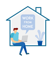 young man sitting and working on laptop at home vector image