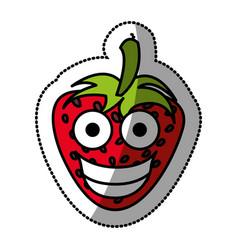 colorful kawaii fruits strawberry happy icon vector image vector image