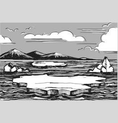 northern landscape sketch vector image vector image
