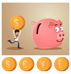 saving money into piggybank vector image vector image