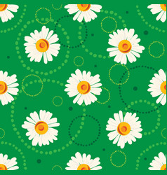 seamless chamomile pattern on green background vector image
