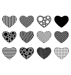 Set of different hearts vector image vector image