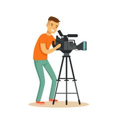television video operator looking through vector image vector image