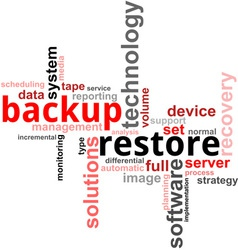 Word cloud backup restore vector