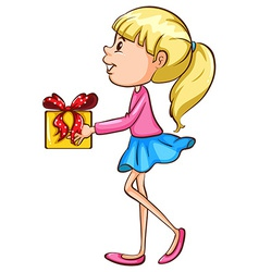A coloured sketch of a girl with a christmas gift vector image vector image