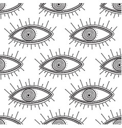 Boho style eyes seamless pattern vector
