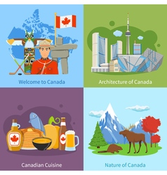 Canada Travel 4 Flat Icons Square vector image
