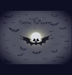halloween bats greetings card vector image
