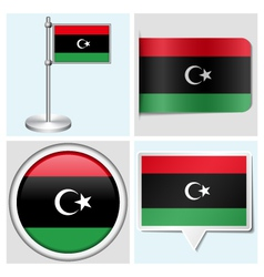 Libya flag - sticker button label flagstaff vector image
