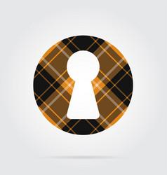 Orange black tartan isolated icon - keyhole vector