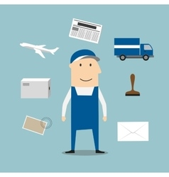 Postman profession and delivery icons vector image