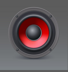 loud speaker with red diffuser isolated on gray vector image