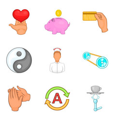 medical insurance icons set cartoon style vector image