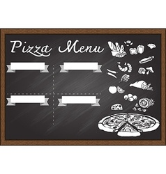 Pizza menu on chalkboard vector image vector image