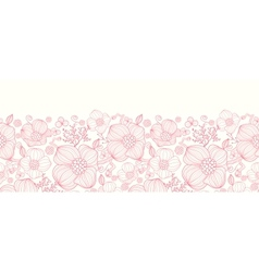 Red line art flowers horizontal seamless pattern vector image vector image