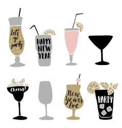 Set of hand drawn alcoholic cocktails with vector image vector image