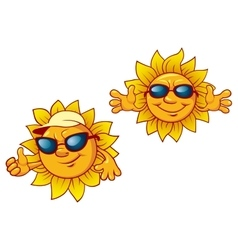 Cartoon summer suns with welcome open arms vector image
