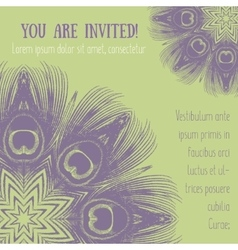 Greeting card with peacock feathers motif vector image vector image