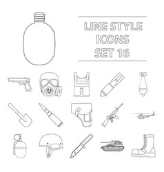 military and army set icons in outline style big vector image vector image