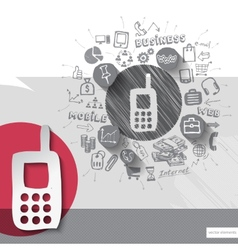 Paper and hand drawn phone emblem with icons vector image vector image