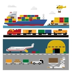 Transportation and Shipping Icons Flat Set vector image