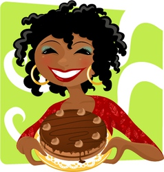 woman with cake vector image